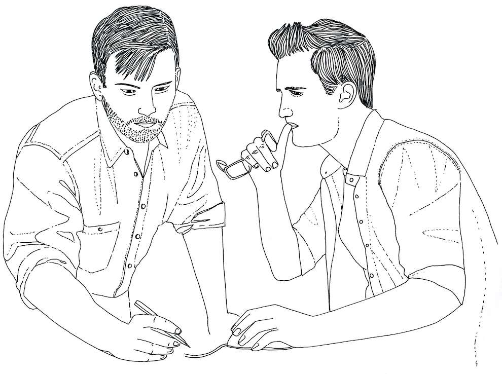 Jitesh Patel, Black and white line illustration of two man talking