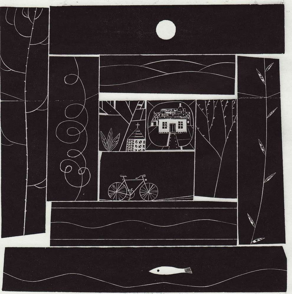 Jonathan Gibbs, Black and white wood engraving illustration of a little house at a back of a garden during the full moon
