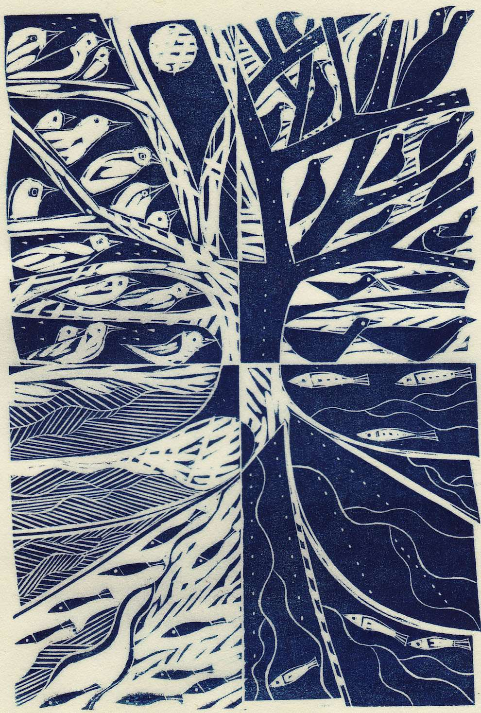 Jonathan Gibbs, Wood engraving tree with birds