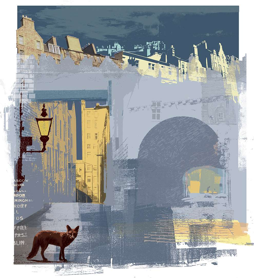 Kate Miller, Digital collage of a night time street scene, with a fox at the forefront.