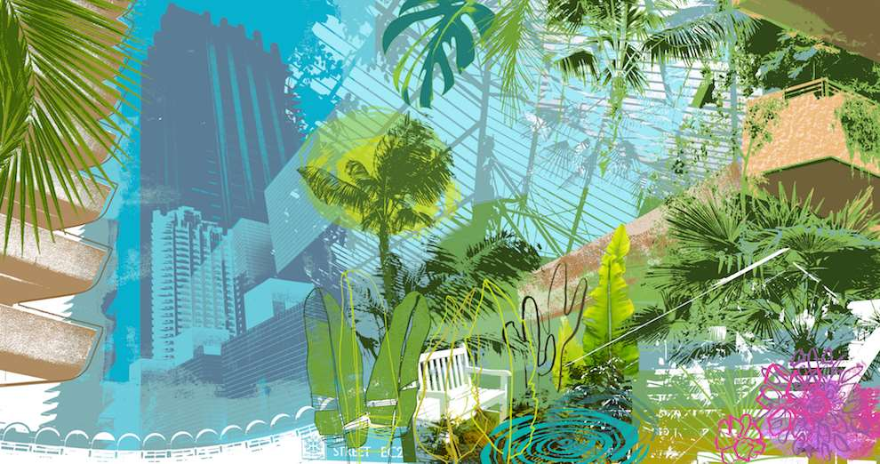 Kate Miller, Mixed media photomontage illustration of the Barbican conservatory