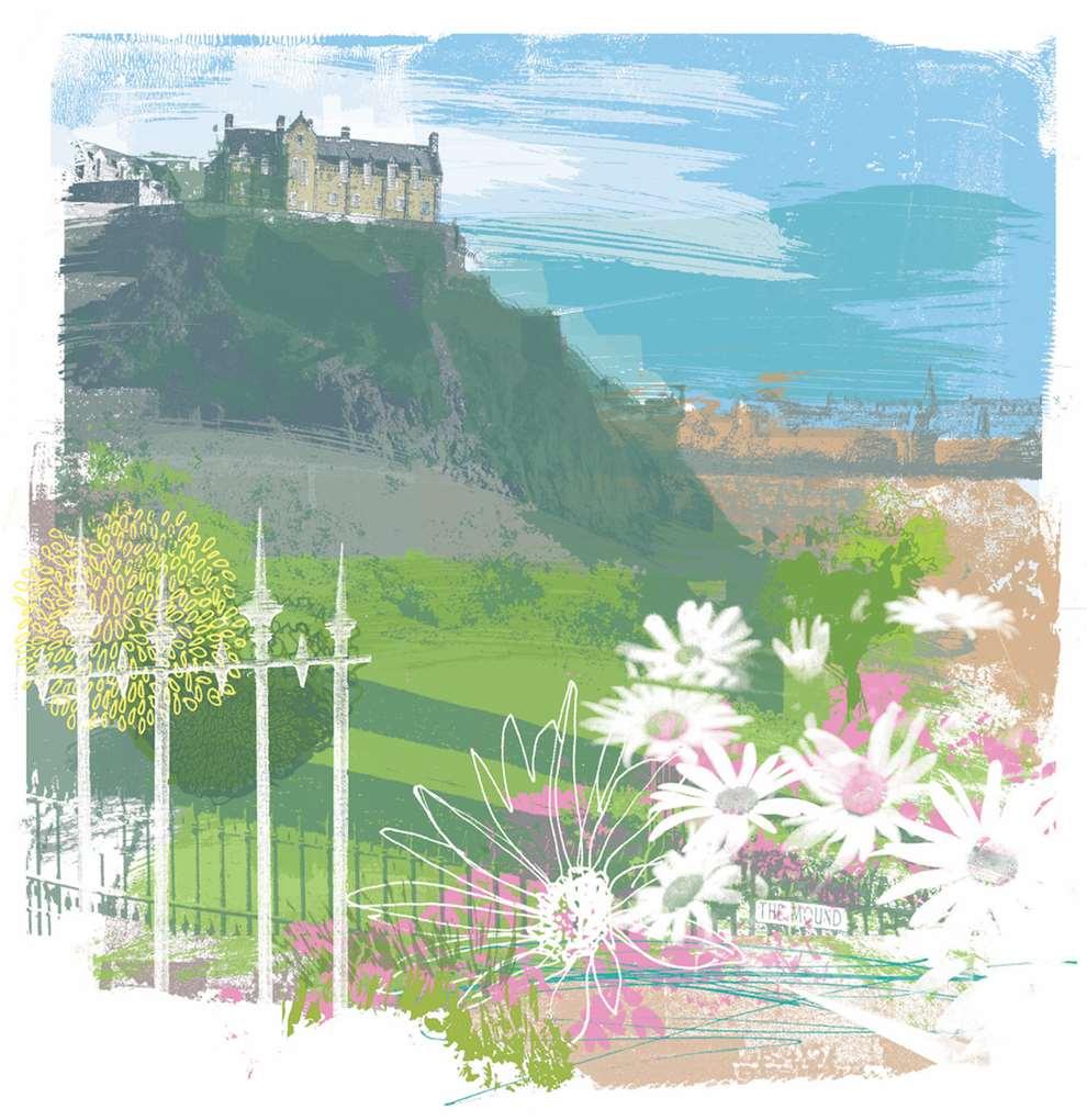 Kate Miller, hand sketch illustration of Edinburgh castle using collage and digital layers. Daytime scene of landscape.