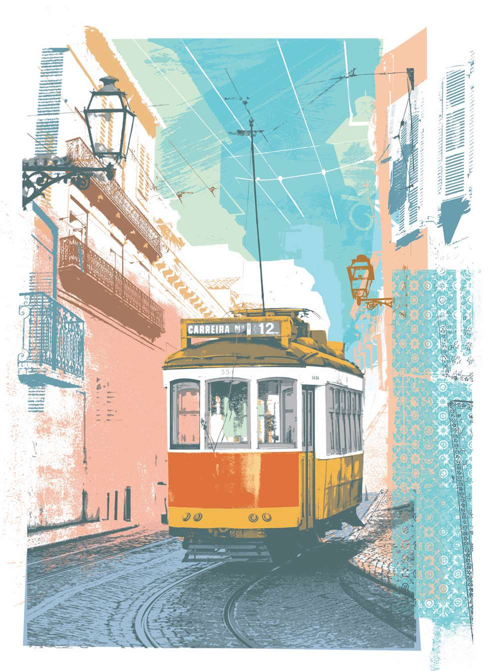 Kate Miller, hand sketch illustration using collage and digital layers. Scene of a tram in Lisbon on a narrow street.