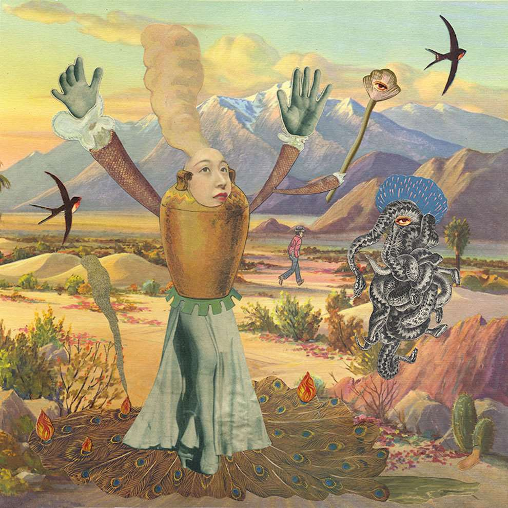 Lou Beach, Retro surrealist photo collage of a woman running in the middle of the mountains