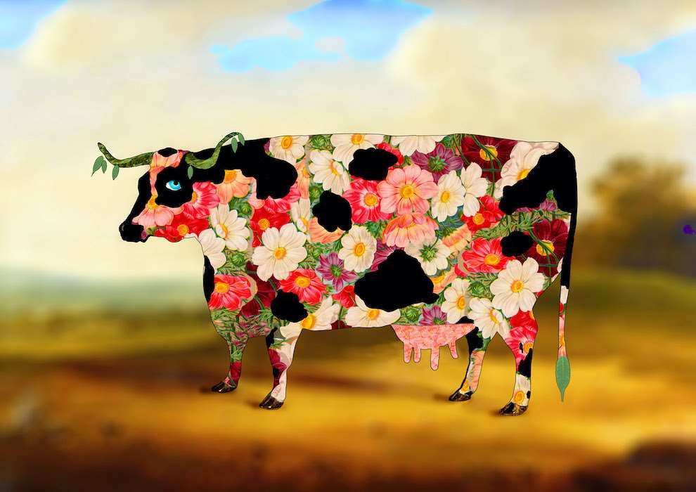 Lou Beach, Vintage photo collage of a cow made of flowers