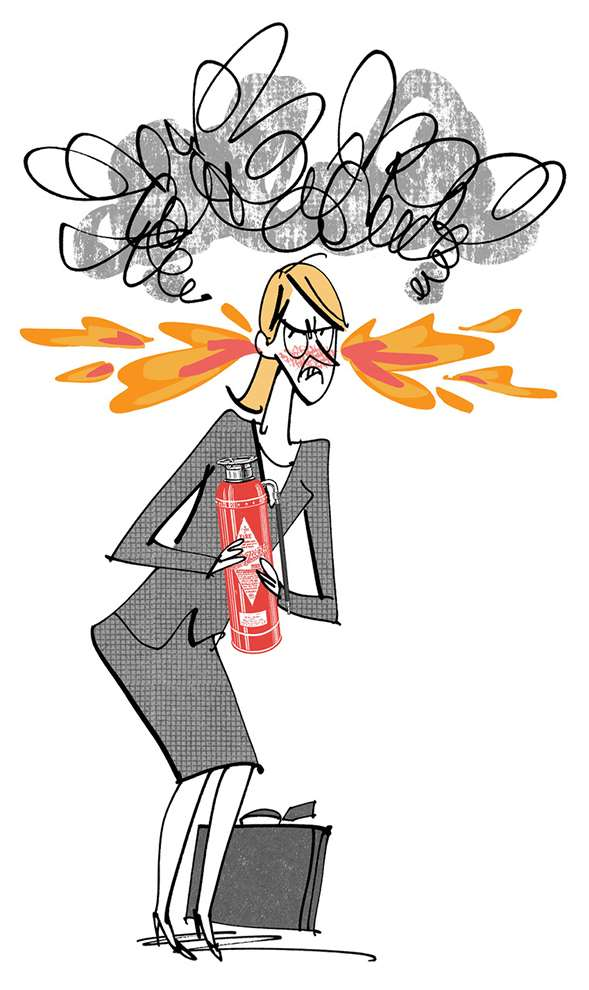 MH Jeeves, Illustration of an angry woman with fire coming out of her ears holding a fire extinguisher