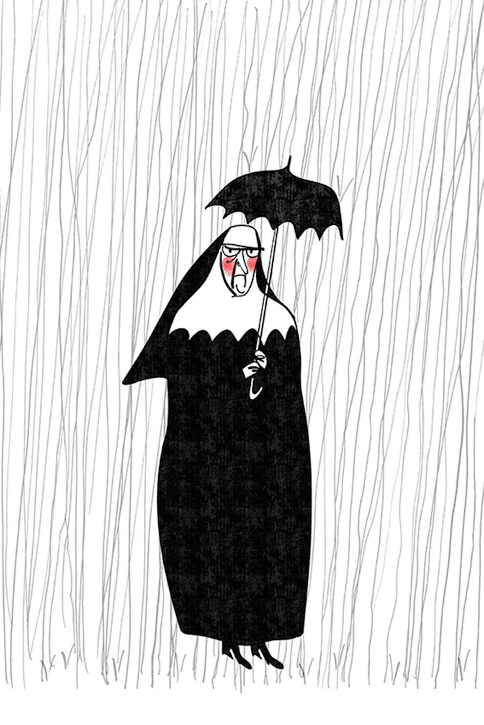 MH Jeeves, Line drawing, humorous style drawing of a nun in the rain with an umbrella.