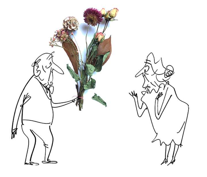 MH Jeeves, Line drawing of an old couple with photographed flower petals as a bouquet.