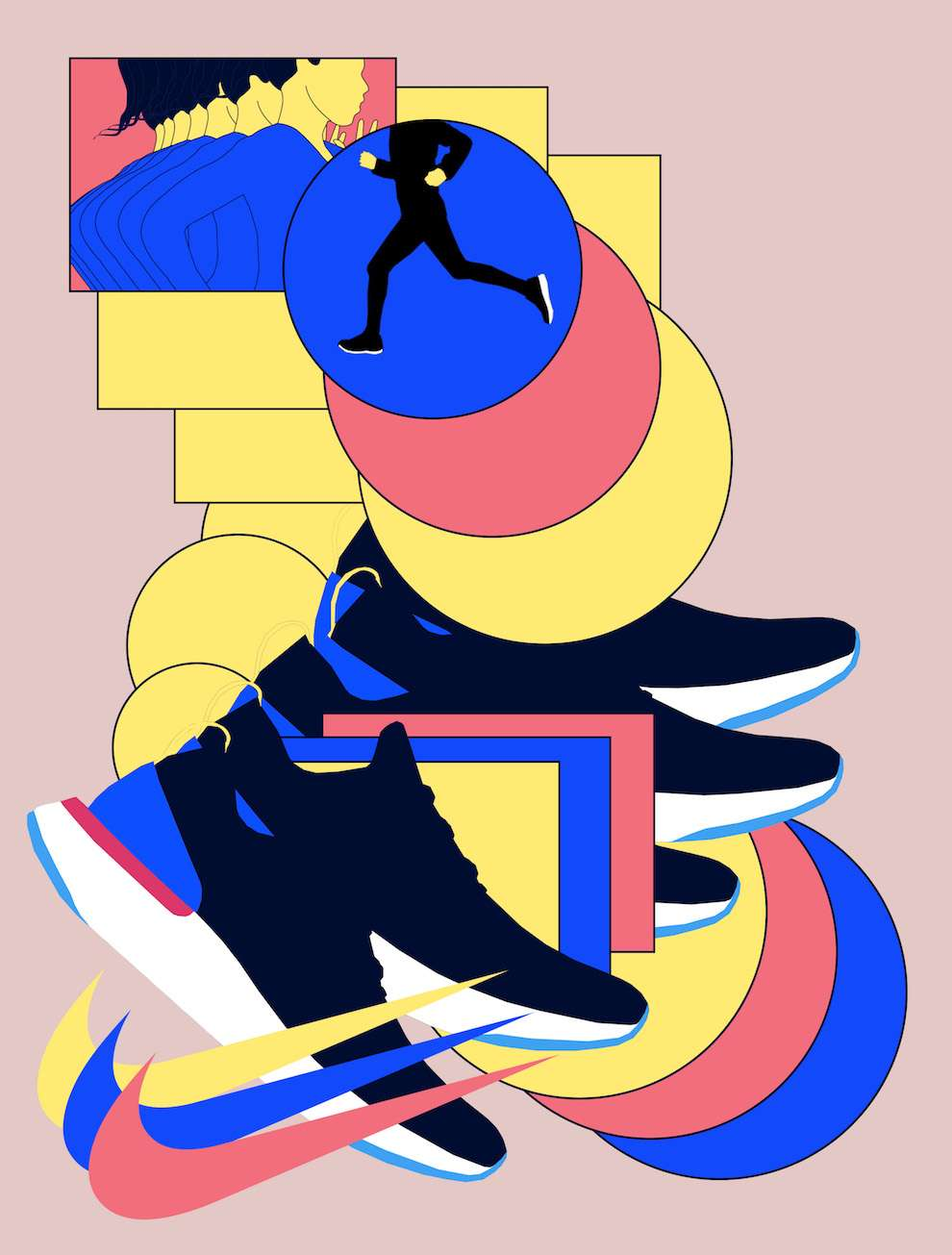 Mario Wagner, Bold, graphic and conceptual illustration of a woman runner for Nike