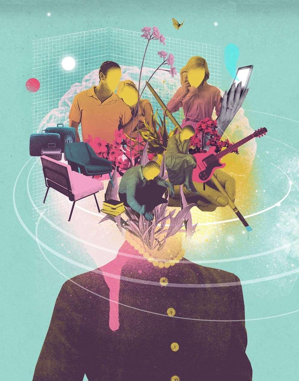 Mario Wagner, Mixed media conceptual illustration using photo montage