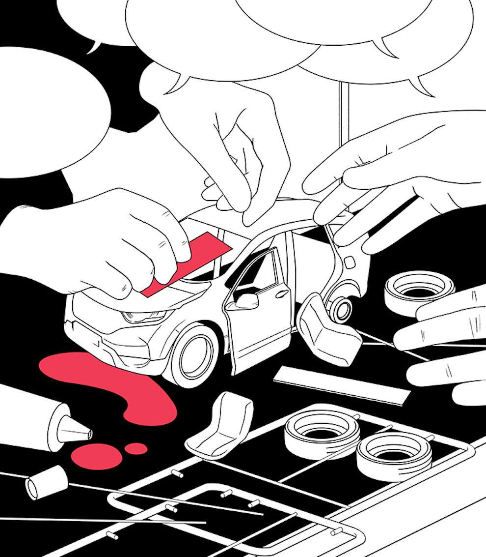Mario Wagner, Black and white digital graphic illustration of two hands building a small car