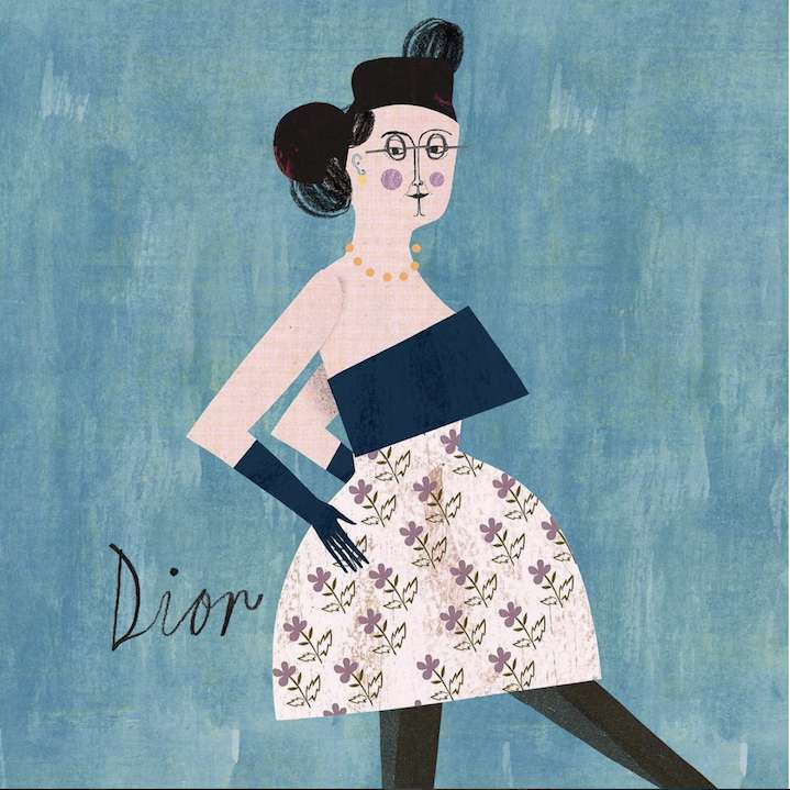 Martin Haake, Quirky illustration of woman posing for dior