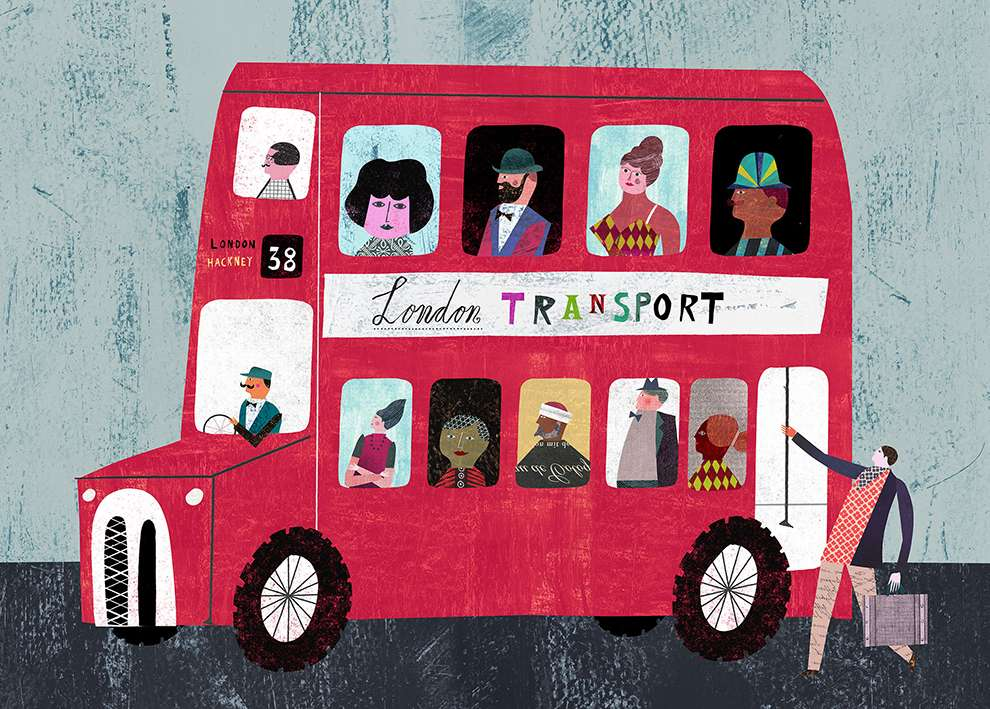 Martin Haake, Children illustration in an American folk style of a London bus