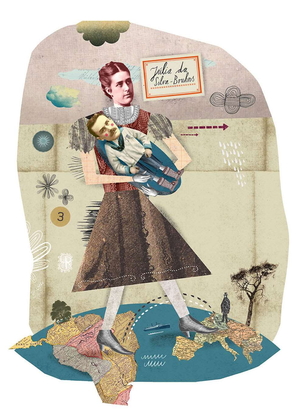 Martin Haake, Historical conceptual illustration collage of a woman holding a baby