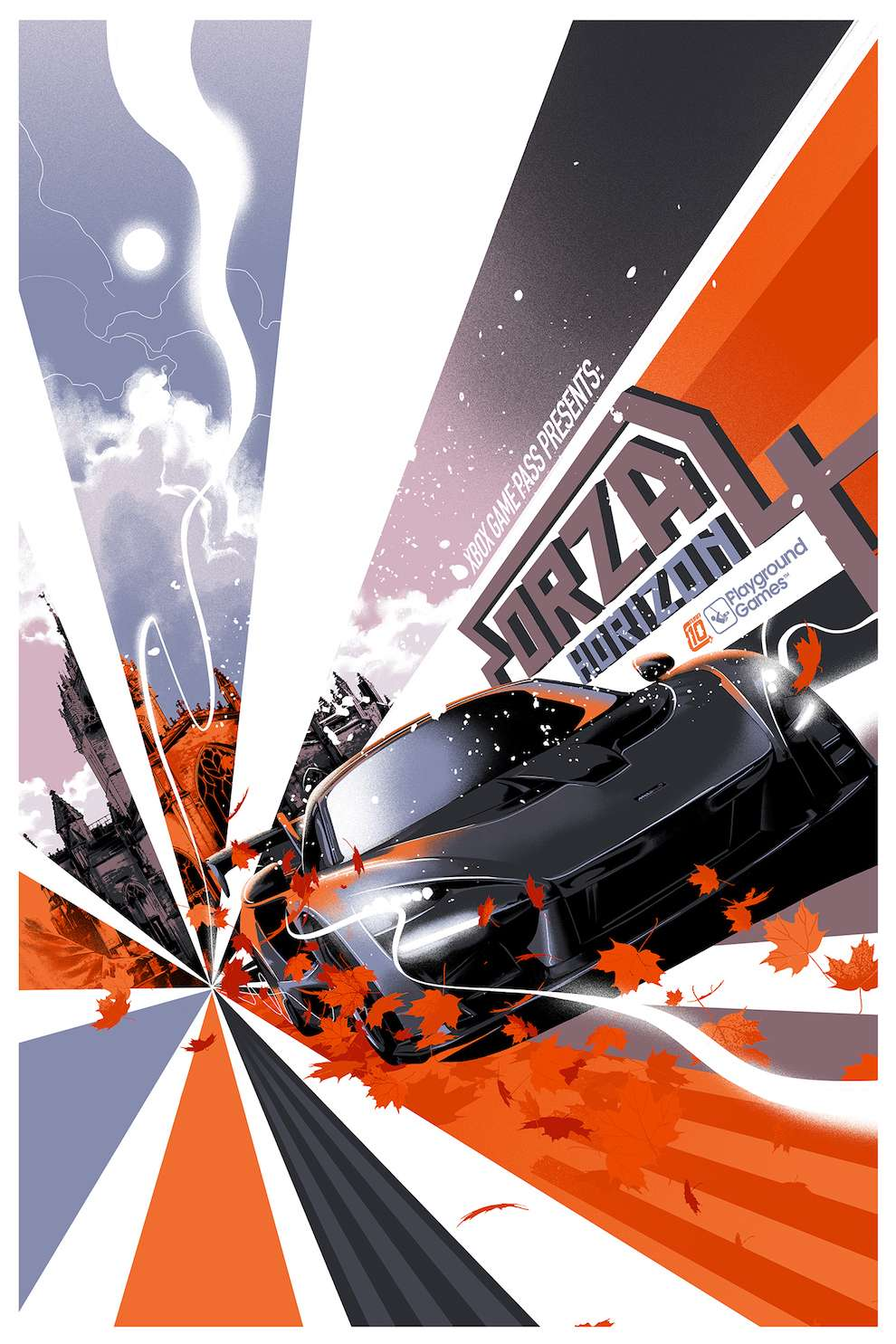 Matt Taylor, Digital & textural illustration of a racing car with a cathedral in a background