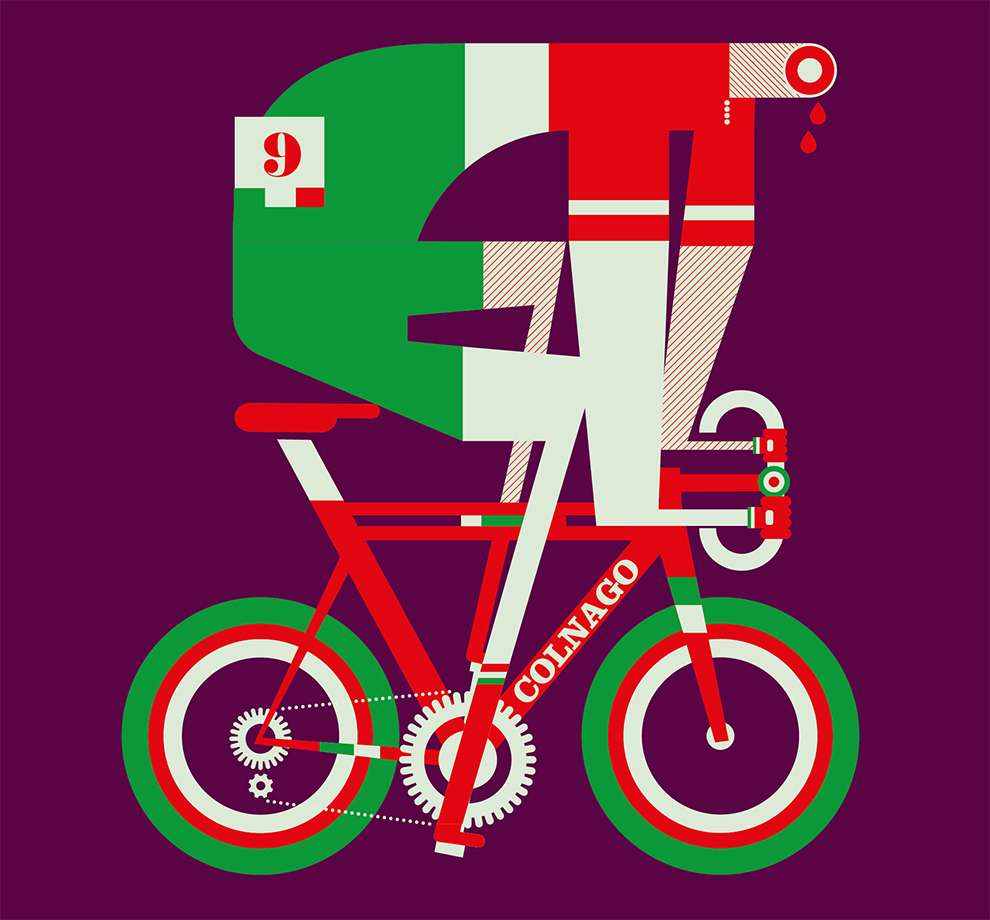 Mick Marston, Bold shape illustration of a cyclist