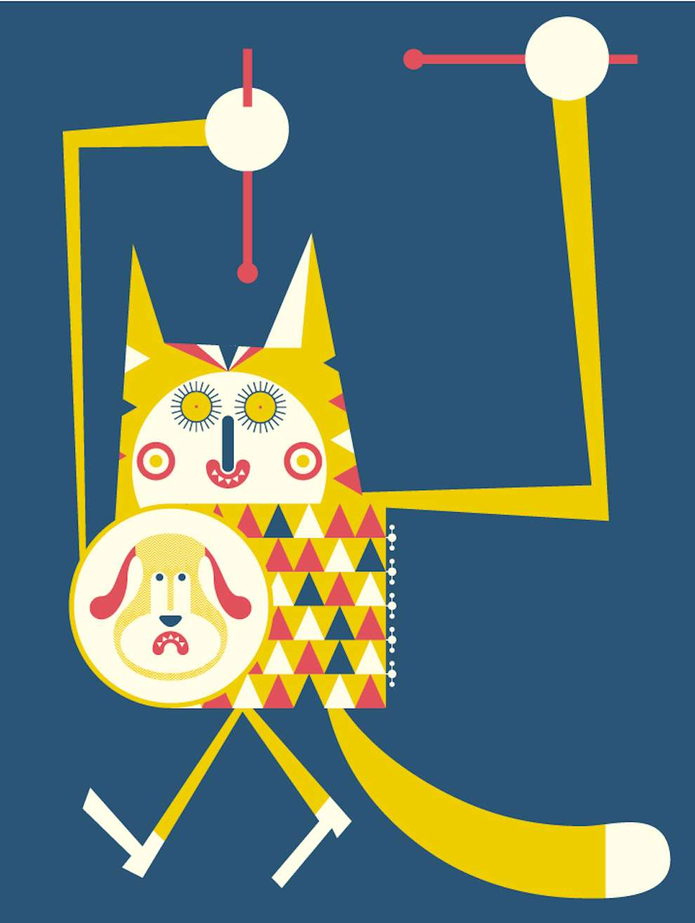 Mick Marston, Bold and graphic illustration of a cat playing drum