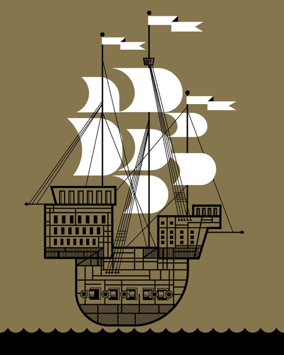 Mick Marston, Graphic illustration of a boat