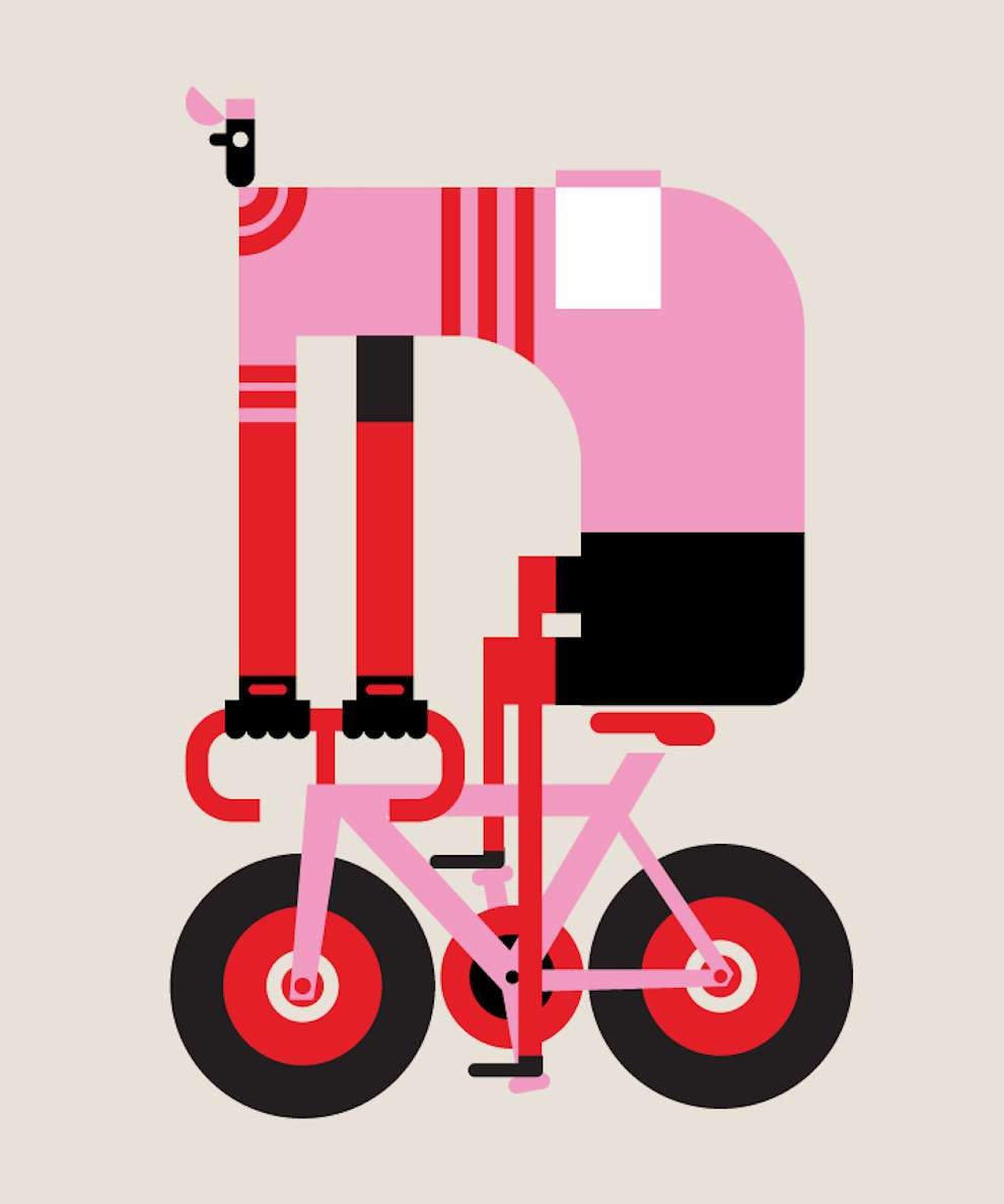 Mick Marston, Digital illustration of a man riding a bike. Bold and bright colour shapes