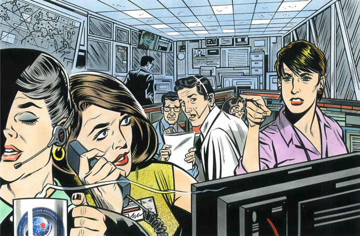 Mick Brownfield, Handpainted vintage illustration of women in the NASA office