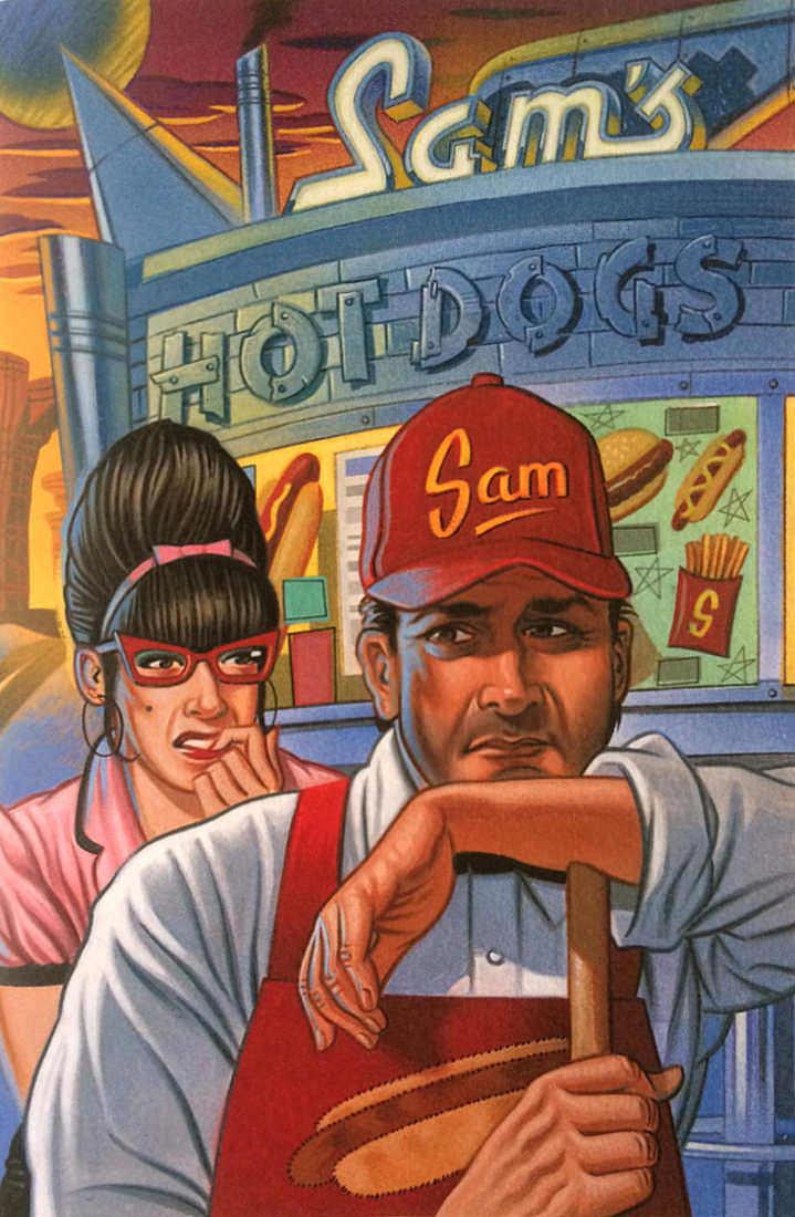 Mick Brownfield, Handpainted vintage illustration of Sam's hot dogs restaurant
