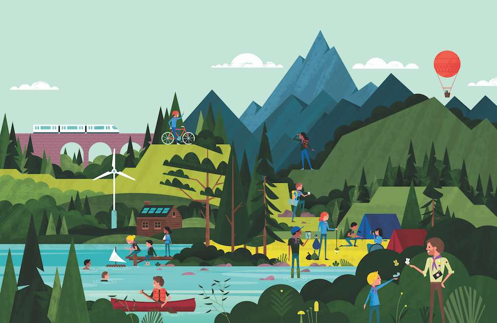 Parko Polo, Digital and graphic illustration of a mountain scenery