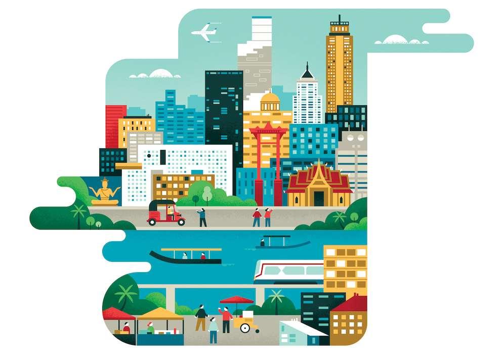 Parko Polo, vector illustration of a city