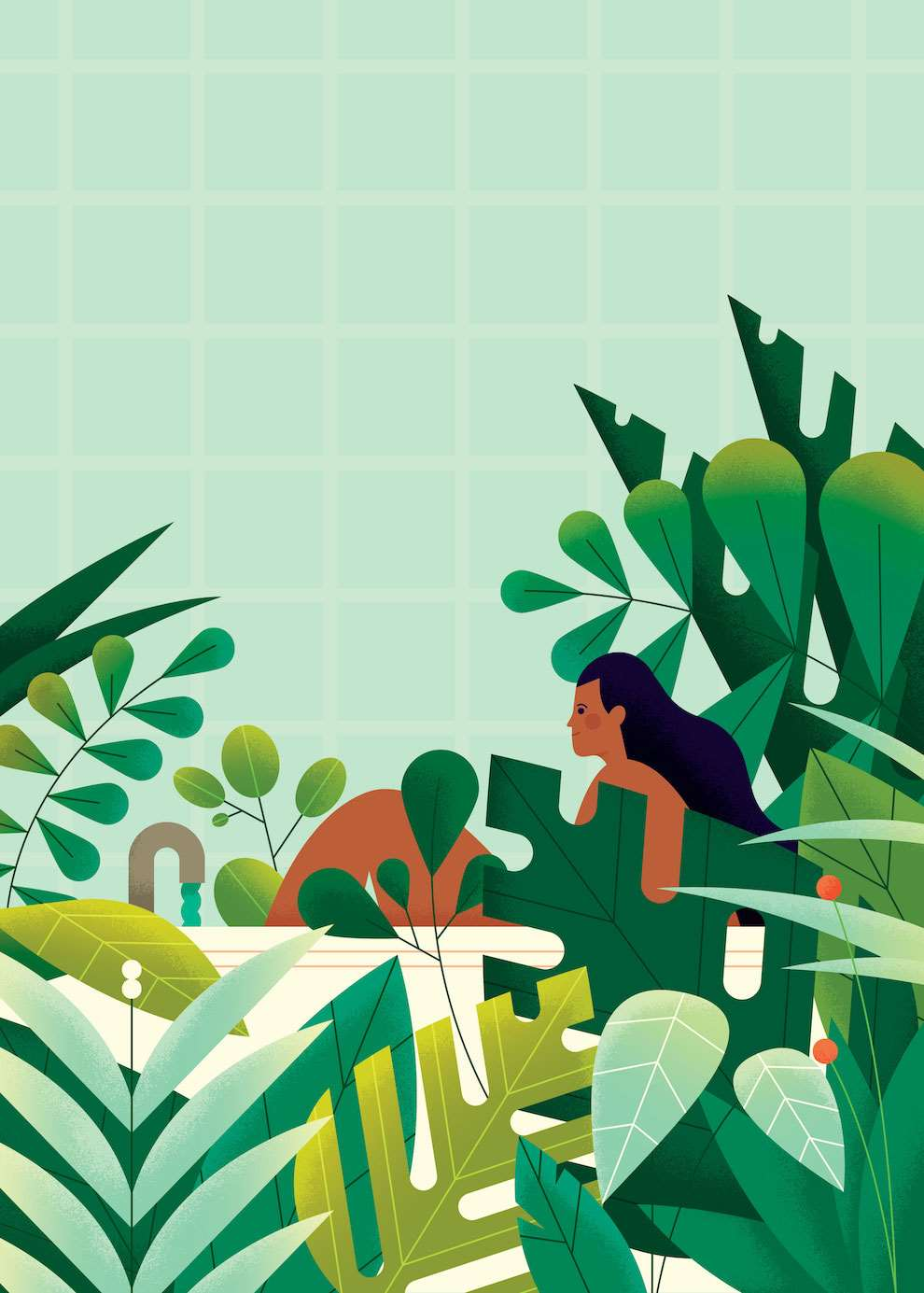 Parko Polo, Graphic illustration of a women in her bath surrounded by plants