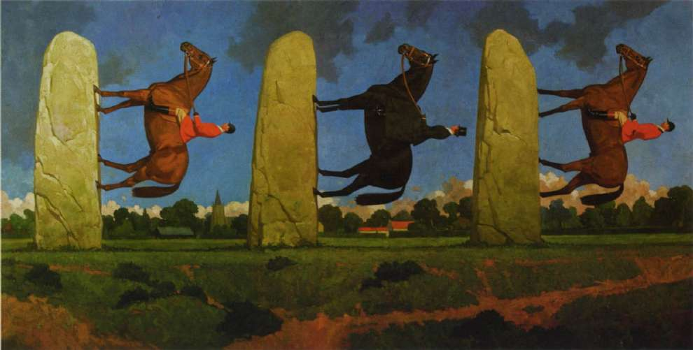 Paul Slater, Hand painted absurd illustration of horse rider on a  standing stone
