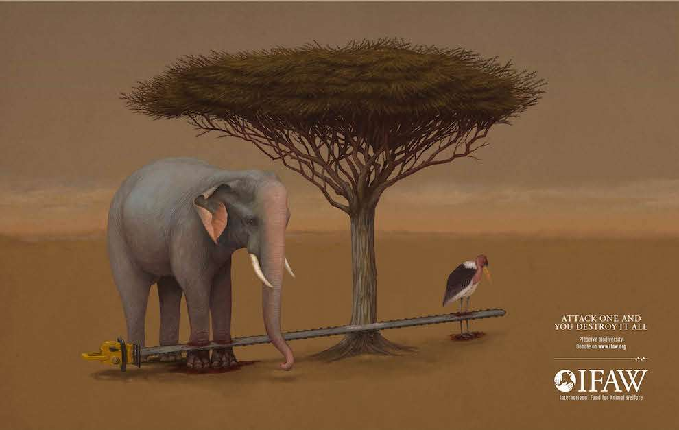 Richard Wilkinson, Photorealistic illustration of an elephant in the savannah being cut by a chain saw for an advertising campaign.