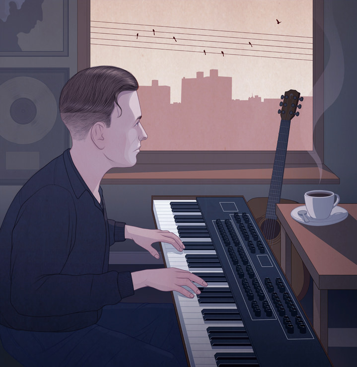 Richard Wilkinson, Melancholic realistic digital illustration of a man playing piano in a studio and looking out the window