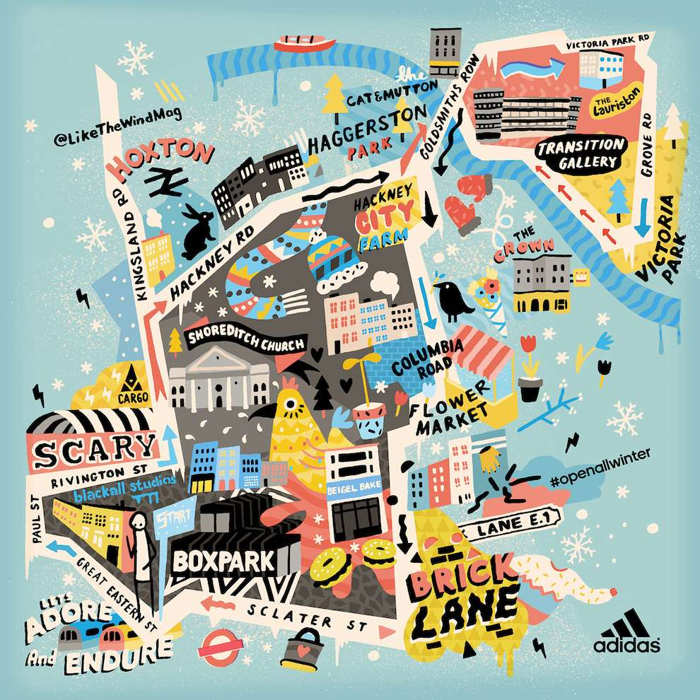 Ruby  Taylor, Digitally hand drawn illustration of a London map for a Adidas campaign