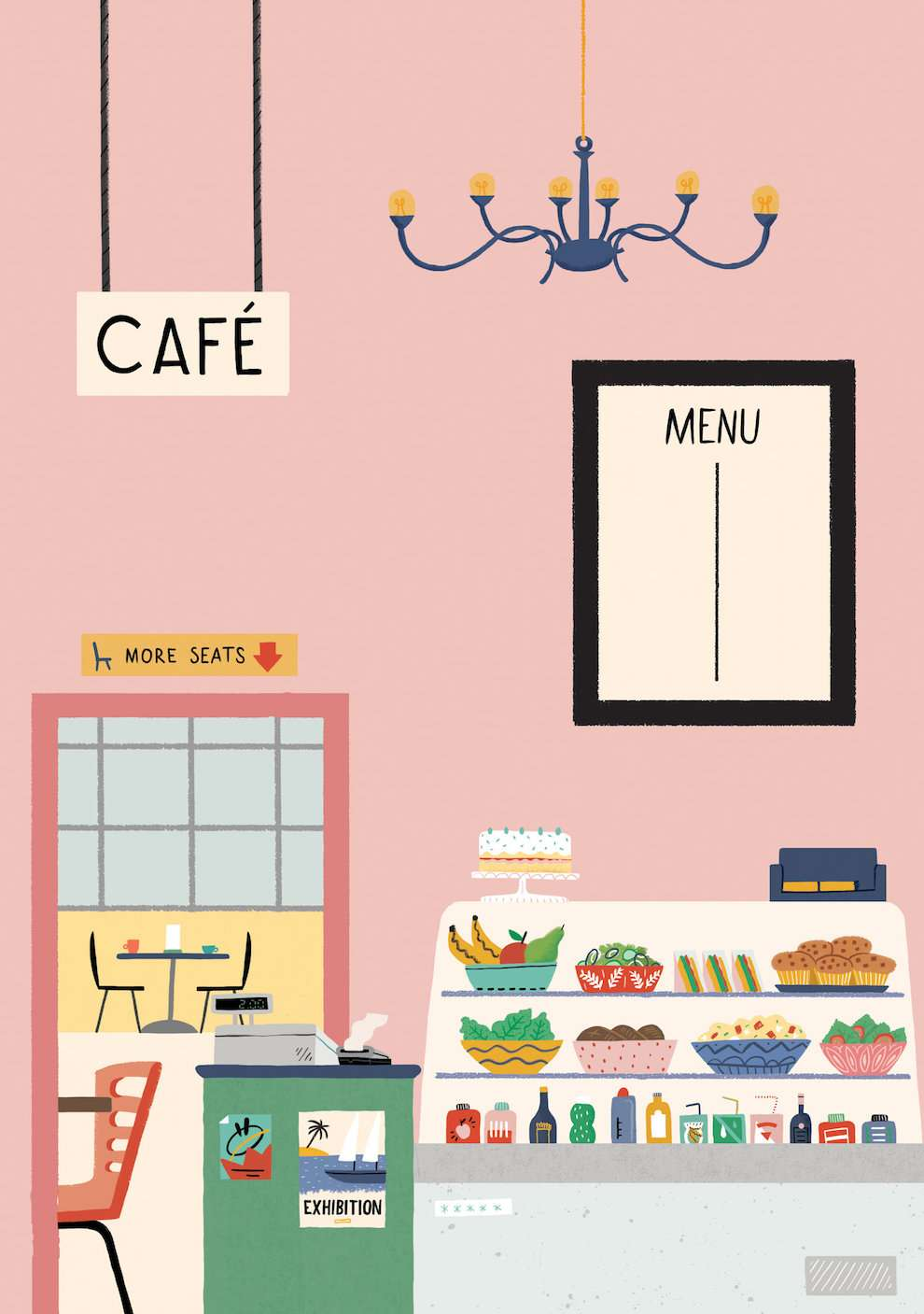 Ruby  Taylor, Playful illustration of a café