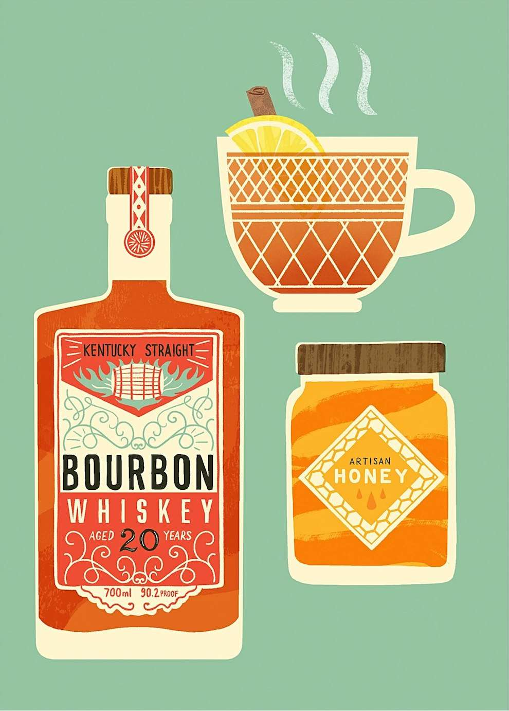 Ruby  Taylor, illustration of a Bourbon bottle. Graphic textural style.
