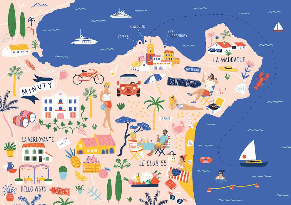 Ruby  Taylor, Bright and colourful detailed hand-drawn map of St Tropez.
