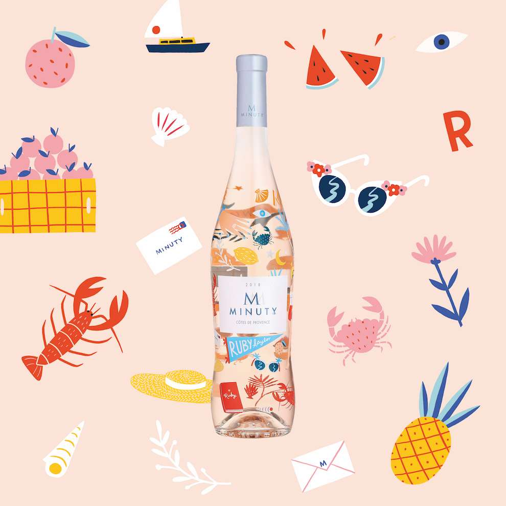 Ruby  Taylor, Bright and colourful hand-drawn summer spot illustration for Rosé drink packaging