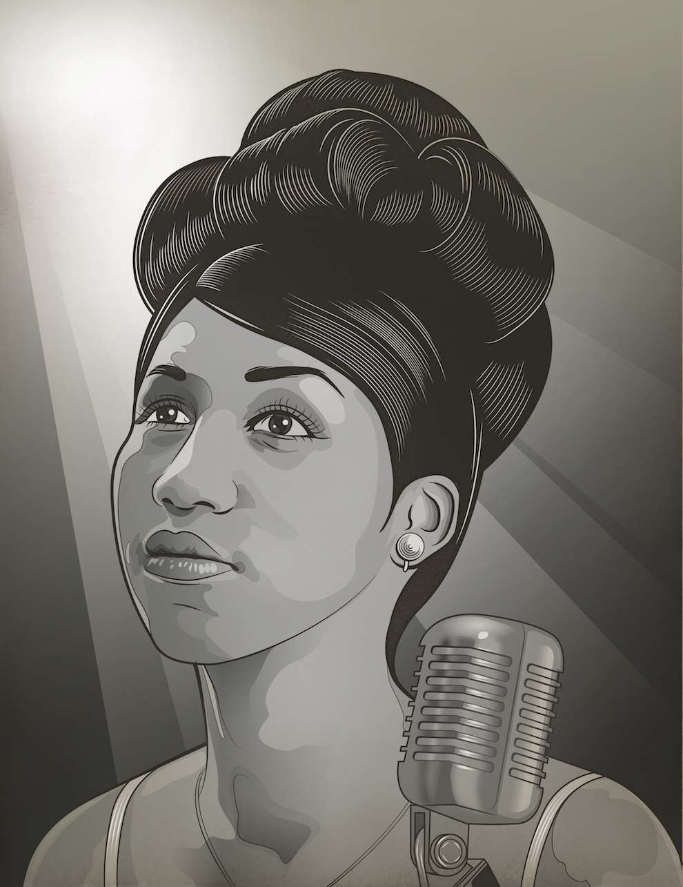 Susan Burghart, Black and white bold digital portrait of Aretha Franklin