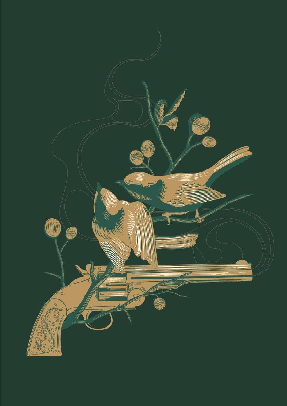 Susan Burghart, Line drawing, bird and gun, botanical, vector.