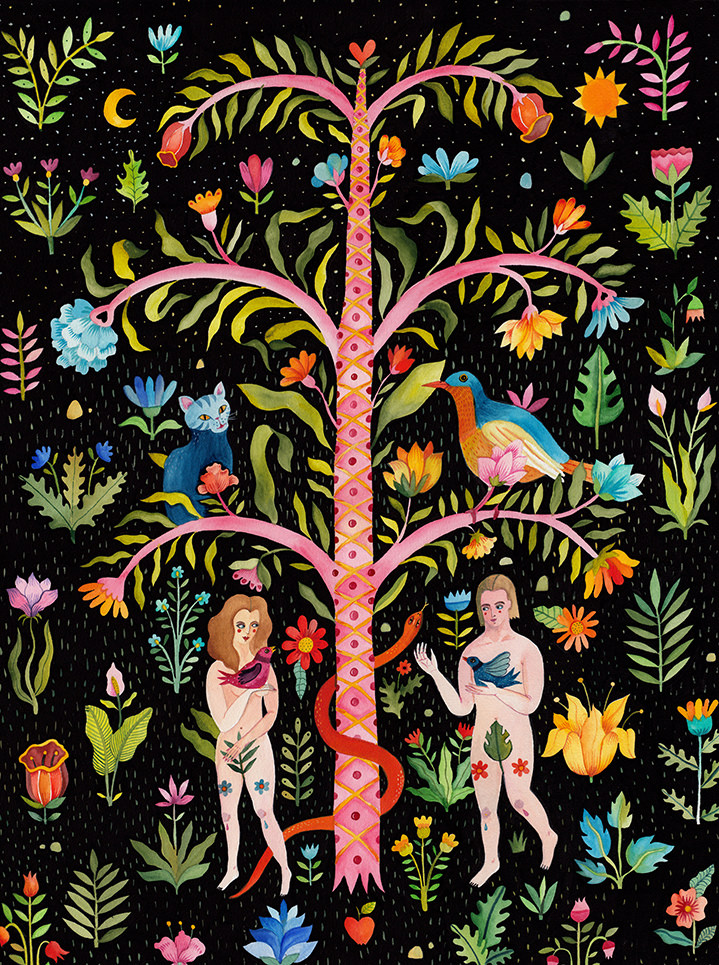 Aitch, Folk painterly illustration of adam and eve garden