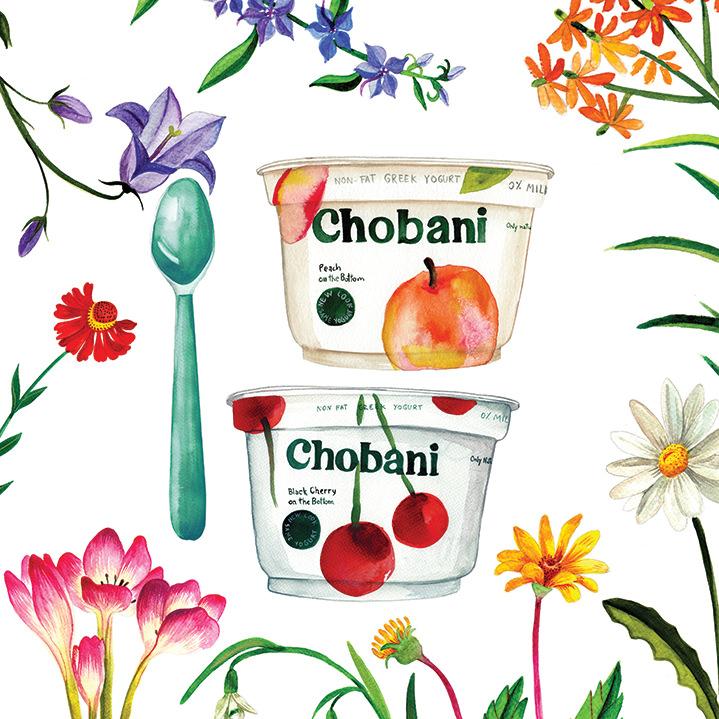 Aitch, Botanical watercolour illustration for a yogurt advertising by romanian folk artist Aitch