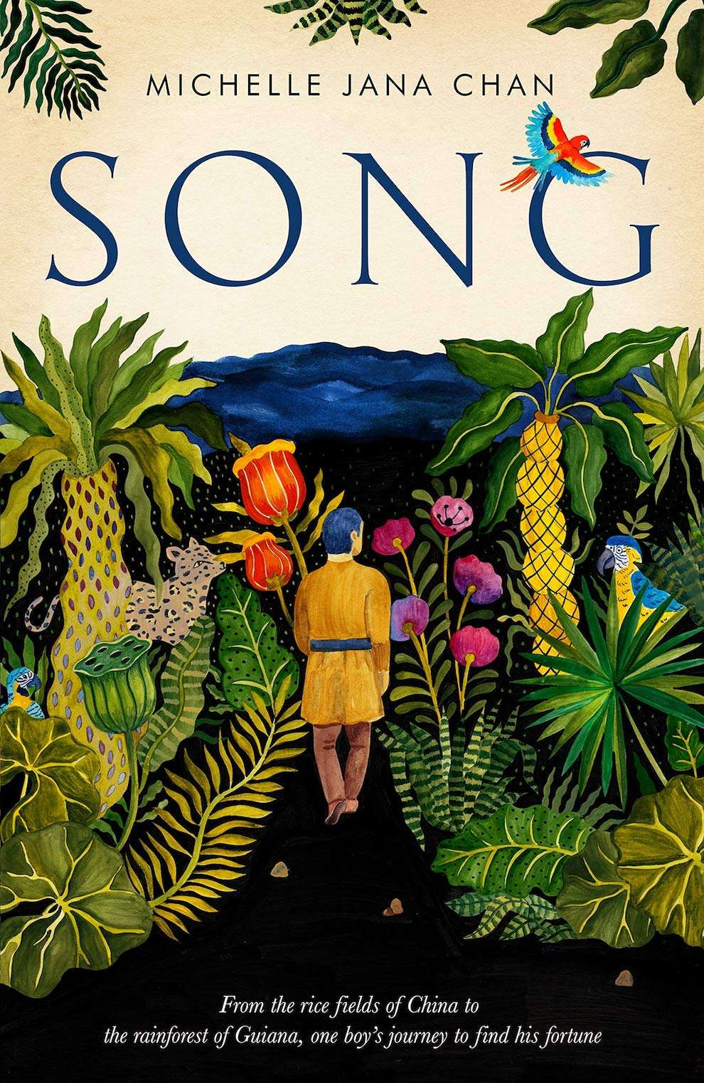 Aitch, Delicate handpainted book cover of a man walking through a jungle