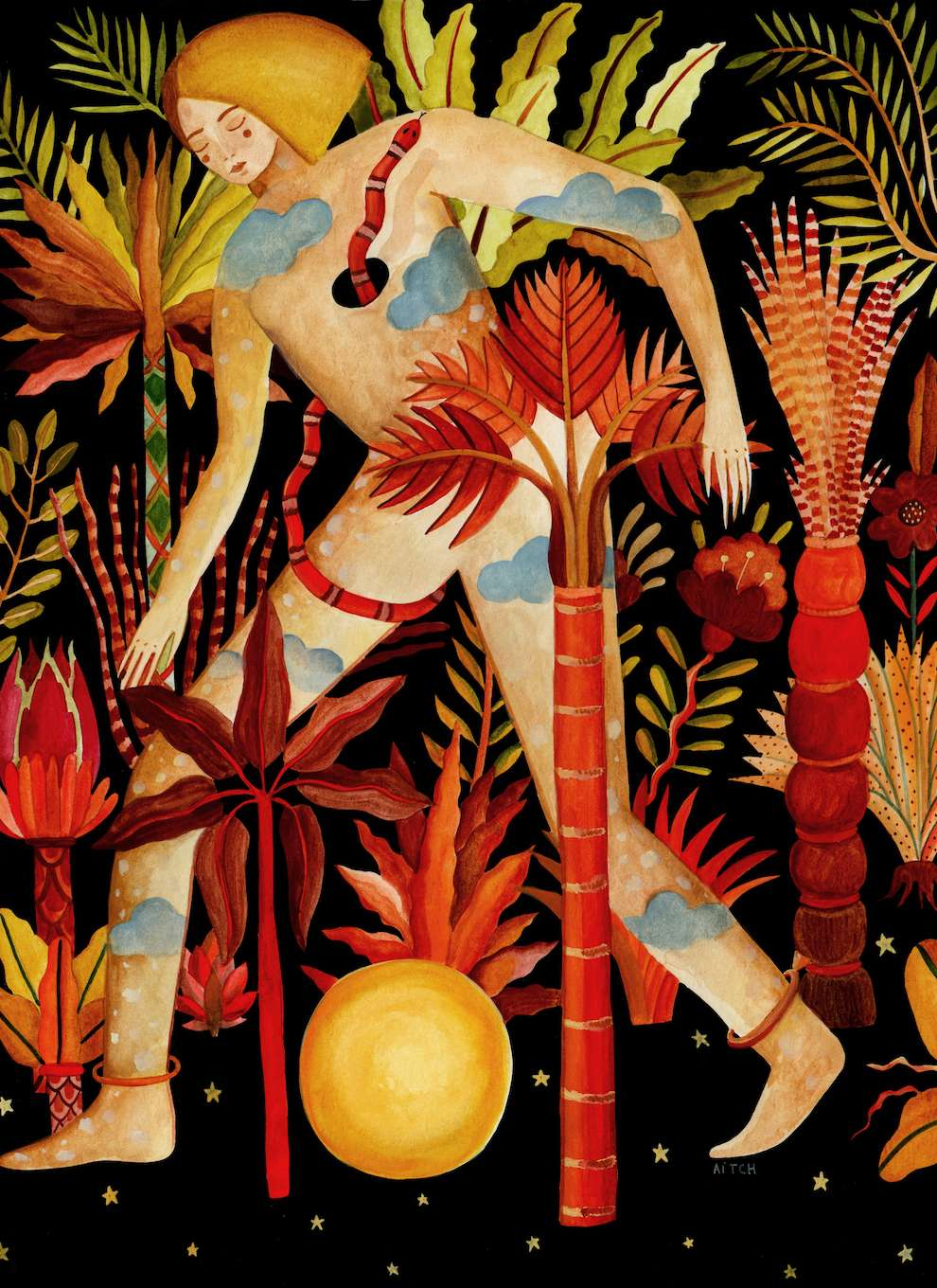 Aitch, Handpainted folk illustration of a naked woman walking through the jungle.
