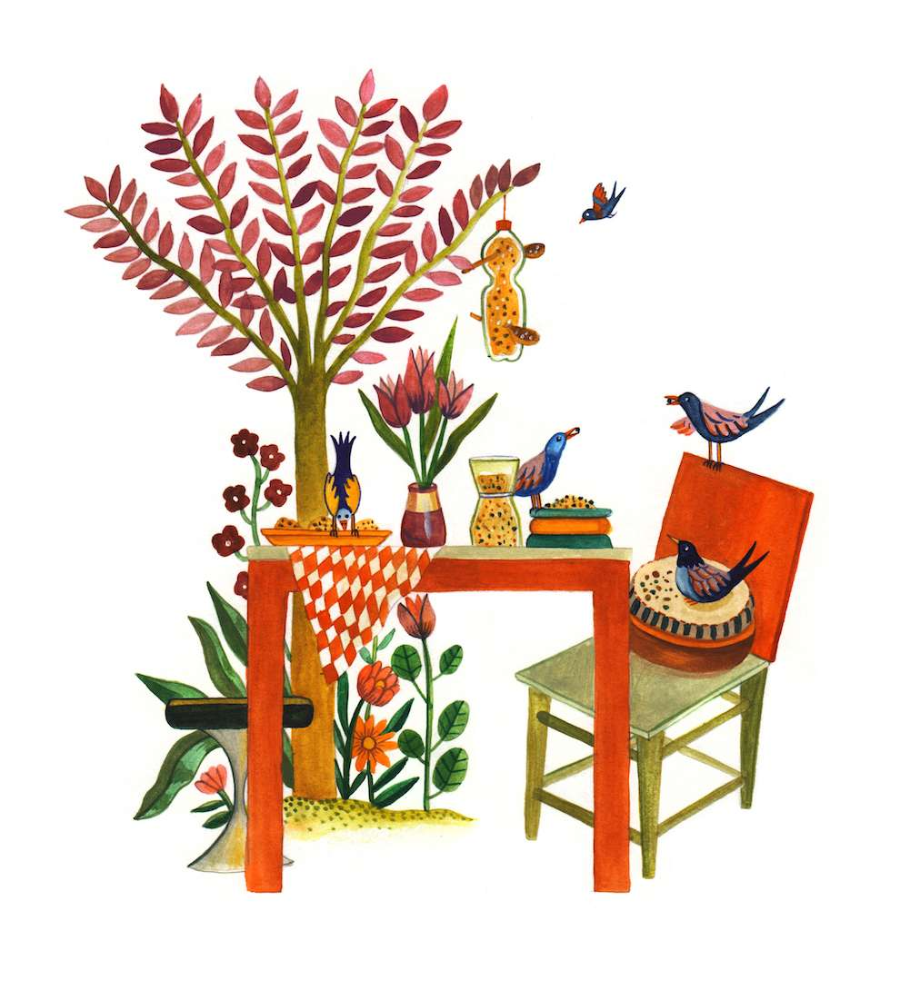 Aitch, Handpainted illustration of a garden table on white background