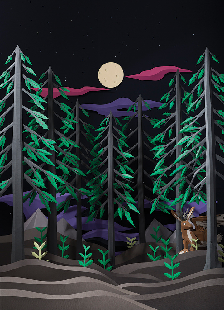 Andy Singleton, Paper crafted nighttime wildlife scene in a forest