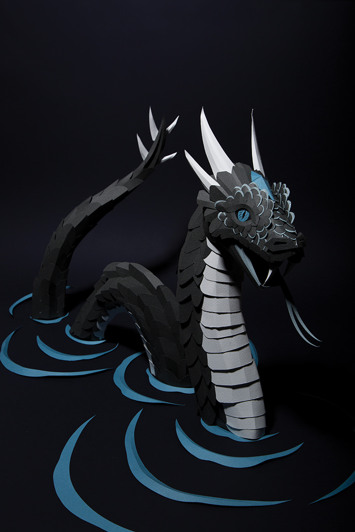 Andy Singleton, Crafted paper sculpture of a fantasy beast