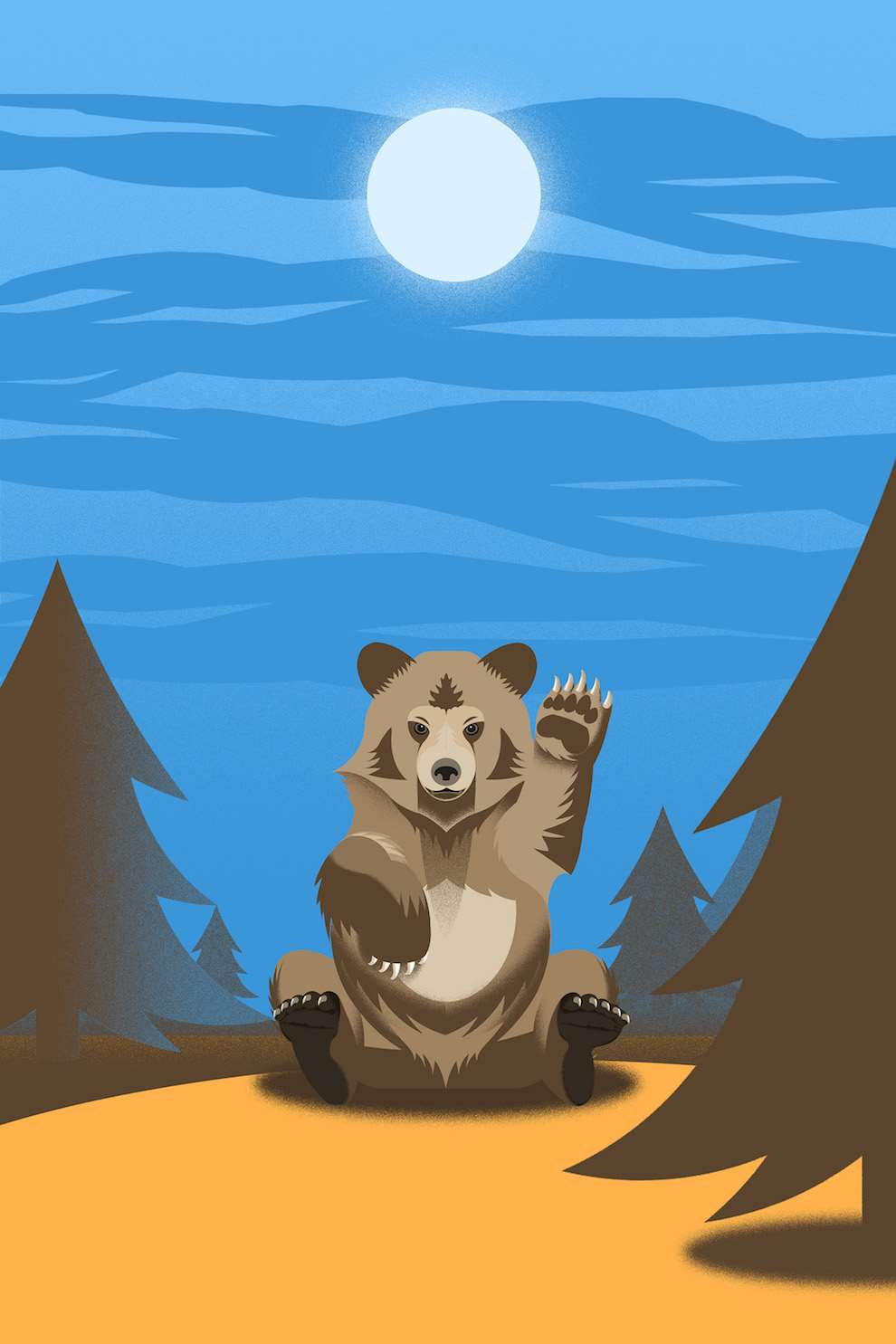Blue Bateau, Bold and graphic digital illustration of a bear waving in the moonlight