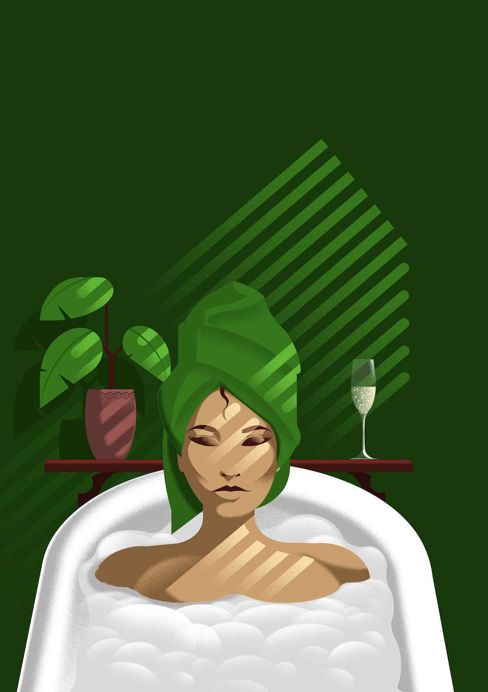 Blue Bateau, Bold and graphic digital illustration of a woman taking a bath