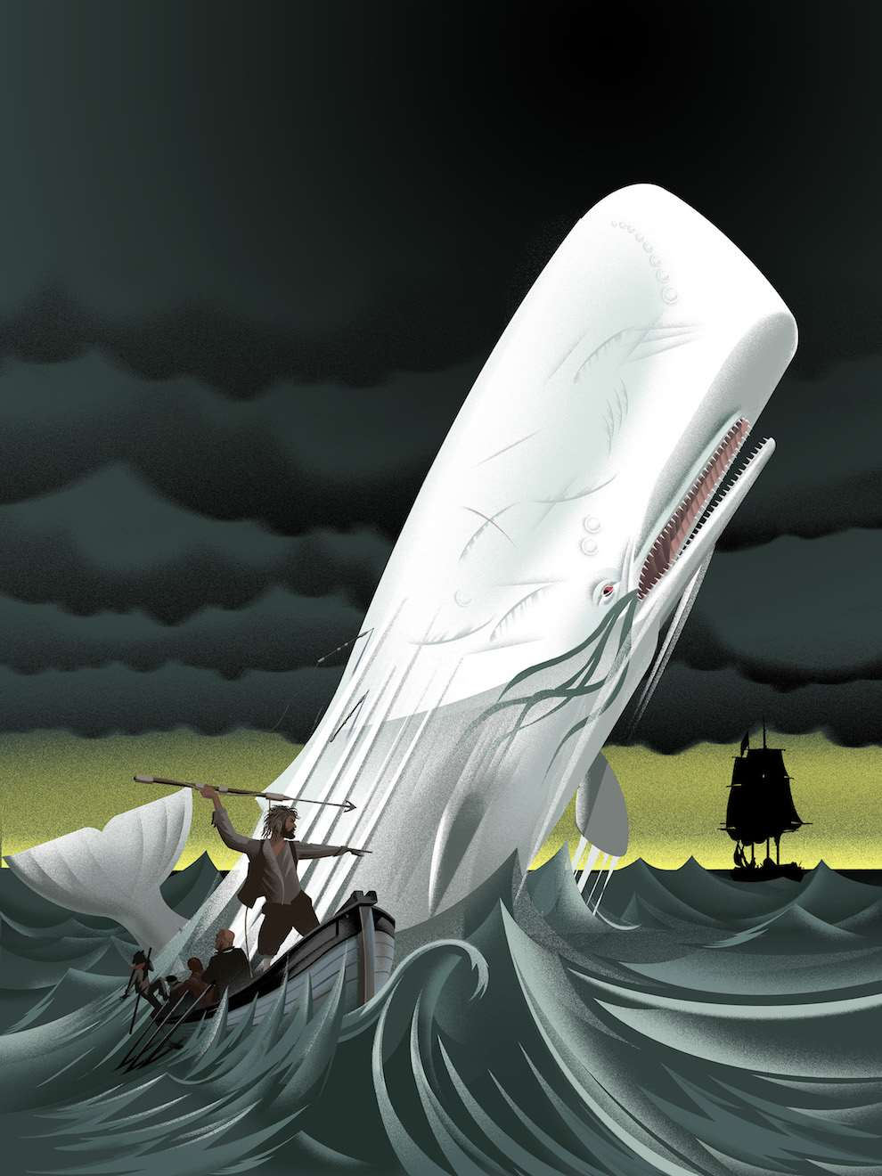 Blue Bateau, Bold and graphic narrative illustration of Moby Dick hunt
