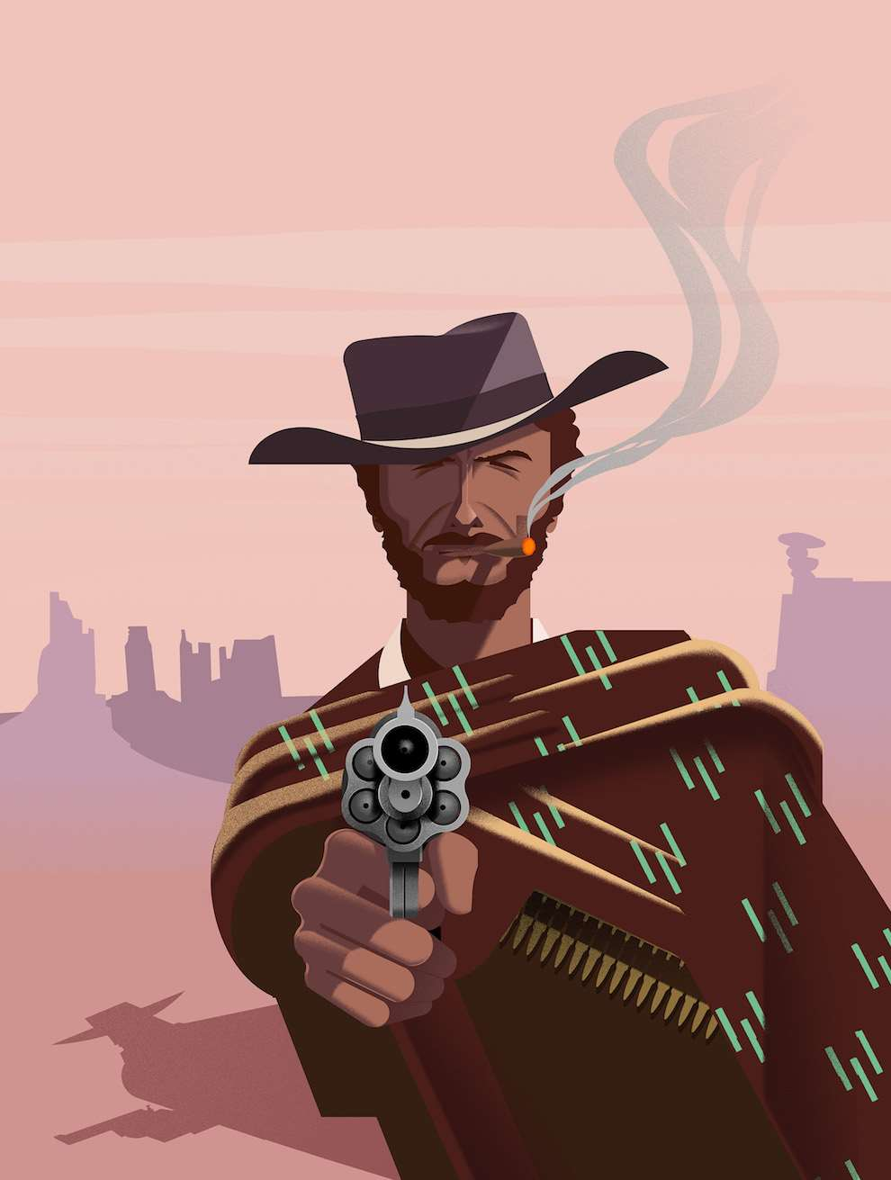 Blue Bateau, Textural and graphic illustration of a cowboy shooting his gun