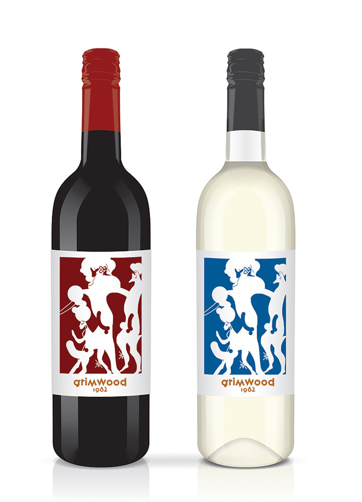 Brian Grimwood, Bold abstract digital illustration on wine label
